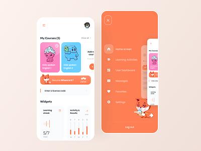 Foxxiz - English learning app dashboard cards home screen menu english learning app education app fox illustration app flat app design boro minimal ux interface concept ui