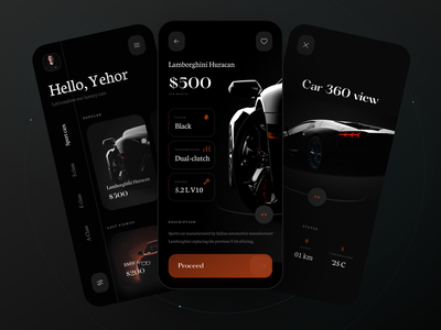 Rent VIP cars app rental app auto catalog home screen luxury rental car cards app ios flat app design boro minimal concept ux ui