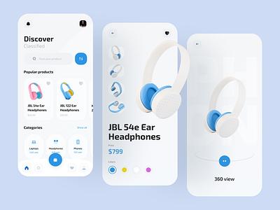 Electronics store app clean app category catalog shop ecommerce app ecommerce phones headphones ios flat app design boro minimal interface concept ux ui app electronics store