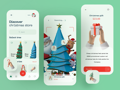 Christmas store App homescreen new year christmas scan ar ecommerce store gift cards app ios flat app design boro minimal interface concept ux ui