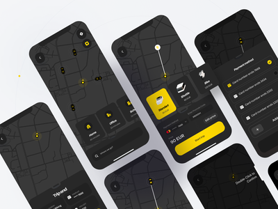Taxi App yellow boro design rent car map homescreen payment booking taxi ios material app design minimal interface concept ux ui