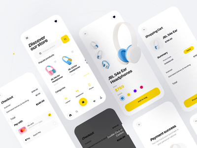 Electronics store app success payment process ecommerce store android material ios flat home catalog category clean app design boro app design minimal interface concept ux ui