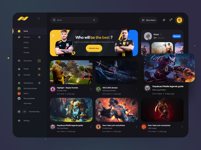 Live Streaming App dashboard sick interaction product design boro esport youtube twitch streaming app video stream live gamers design app design minimal interface concept ux ui