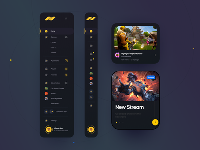 Live Streaming Ui stream app menu catalog card video stream design system components ui guide sidebar design boro app design minimal interface concept ux ui