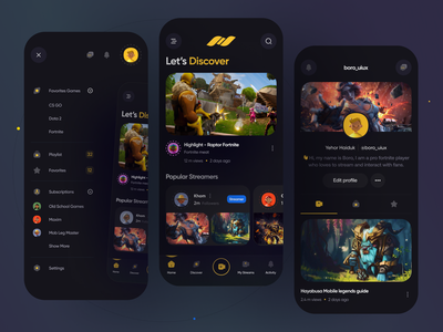 Streaming App video live product design sick dota esport homescreen profile youtube menu stream twitch design boro app design minimal interface concept ux ui