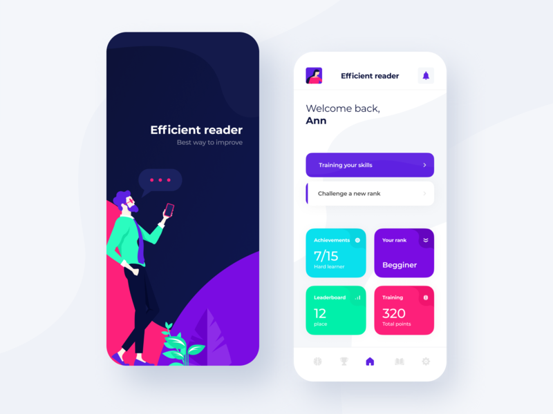 Efficient reader App Design minimal flat ux illustration speed reading reader task student lesson learning knowledge ios interface boro concept uiux ui app design app