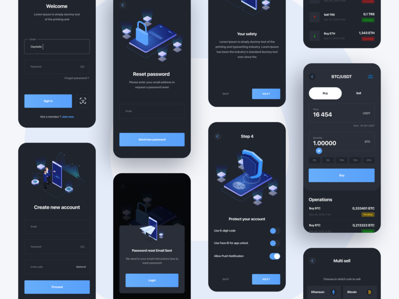 Blockchain social network App Design bitcoin security crypto exchange crypto wallet cryptocurrency operation sell buy login onboarding crypto minimal ui ios interface illustration concept boro app design app