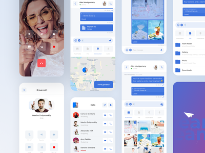 UI design for a Chat App call video telegram messanger chat photo files visual design mobile icons ux minimal ios app design app interface flat concept ui team