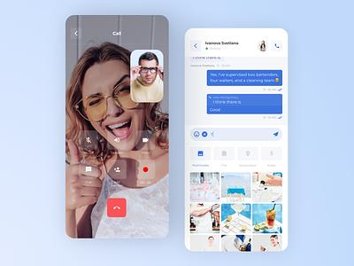 UI design for a Chat App uiuxdesign concept design clean blue messanger telegram videocall video chat files flat boro ux minimal ios app design app interface concept ui