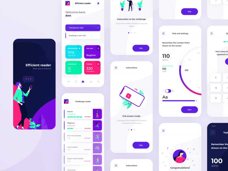Efficient reader typography minimalistic splash page onboarding ui uiux reader knowledge colorful settings learning boro ux minimal ios app design app interface flat concept ui