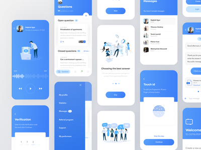Consultant clean onboarding interfaces blue illustration boro minimal app design interface concept android material ios ux ui