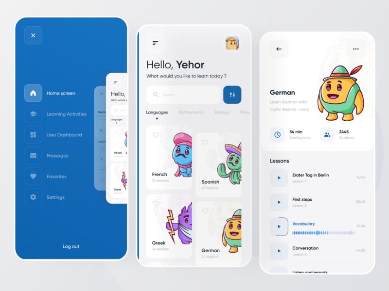 Learning app for Boro Ui/Ux challenge languages language learning learning app search filter menu cards illustration ios app design flat boro minimal ux interface concept uiux ui learning