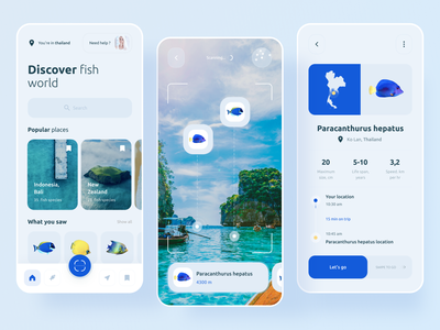 AR fish discover app material technology blue virtual tour search camera fish travel clean vr ar uichallenge app ios minimal ux interface concept ui boro