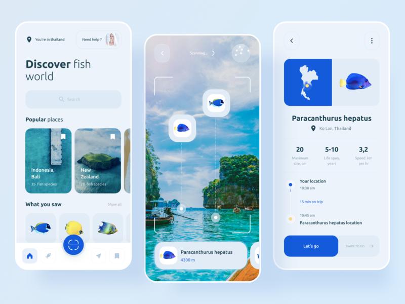 AR fish discover app material technology blue virtual tour search camera fish travel clean vr ar uichallenge app ios minimal ux interface concept ui boro