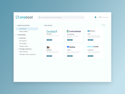 One tool page design whitespace white minimalistic search bar search categories tool vector logo blue app design ui typography webdesigner uiux webdesign design
