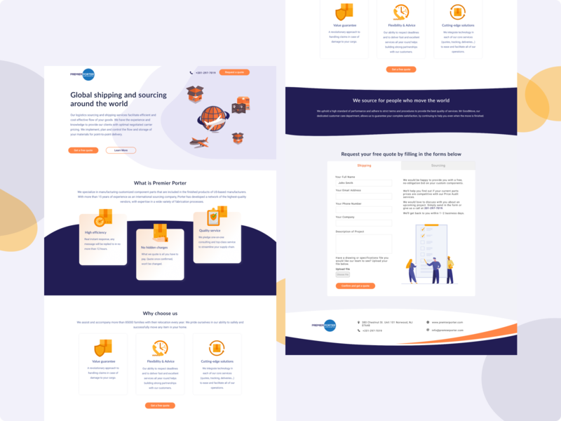 Shipping company landing page form field form orange purple shipping company shipping landingpagedesign landingpage clean web illustration typography webdesigner webdesign ui design