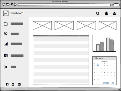 MyScheduleWebApp ui design wireframing wireframe web design ui