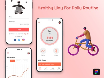 Healthy Way For your Daily Routine branding wireframing figma typography ui design app design ui