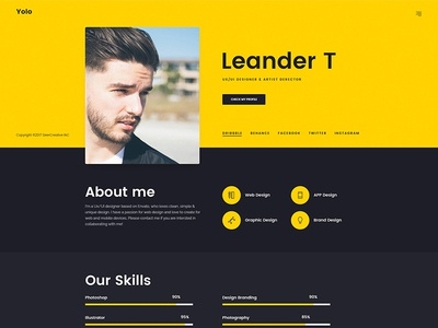 Freelancer, Designer Website (Yolo PSD)