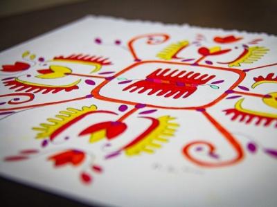 Tulip traditional illustration traditional art transition folk art folkart illustration