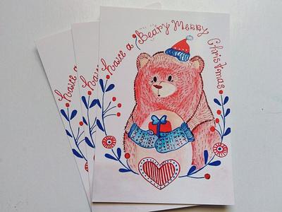 Baery Christmas cartoon card brand design illustration