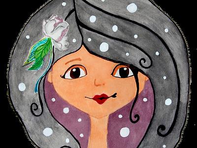 Mushroom girl style stamp logo illustration face brand brand identity advertising adobe illustrator