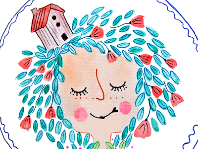 sweet home design style face illustration
