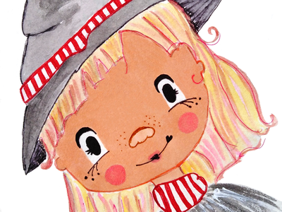 Little witch design style illustration face