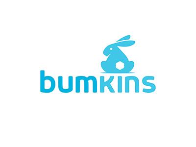 Bumkins Logo Concept playful cute bunny rabbit bum baby logo