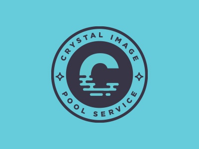 Crystal Image Pool Service Logo reflection pool blue badge lockup logo