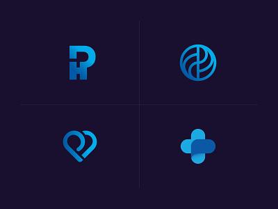 Unused Marks monogram heart cross p logo health travel healthcare logo logomark