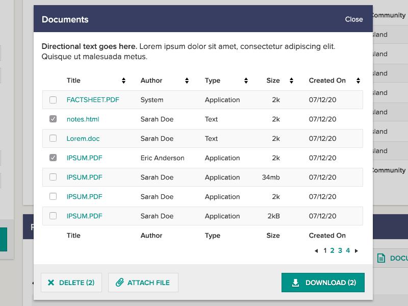 Document Upload / Download ui ux modal document upload delete download table list select