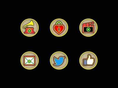 Storybook of Franklinford - Icon Set history vector yellow red vintage old fashioned old style mail identity branding icon set icon heart graphicdesign gramophone clapper clapboard