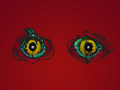 Surreal Eyes collage photoshop vector stare yellow green red character design conspiracy lizard design illustration art digital surreal abstract eyes