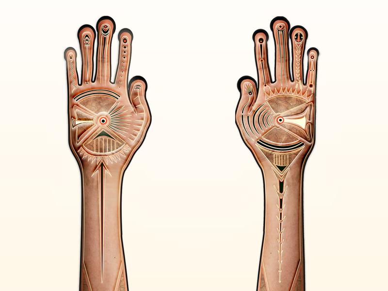 Surreal Hands pans labyrinth beige henna skin digital art surreal tattoo character design collage hands design vector art vector