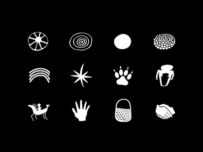 Story Maps - Icons web app dreaming symbol history mark map hands black and white design nature indigenous australia aboriginal story icon icon set