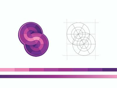 Seam - Gradient Logo S concept digital branding pattern seam block path streamer serpentine barcelona logo lettering letter purple gradient pink
