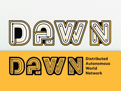 DAWN - Circuit Board Lettering Logo for a Tech Startup