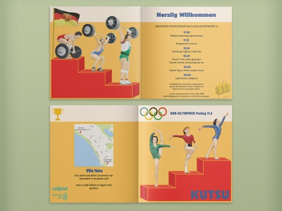Bifold Invitation Card with DDR Olympics Theme adobe photoshop propaganda humour yellow history event event branding graphic design sport vintage retro doping olympics germany ddr bifold print