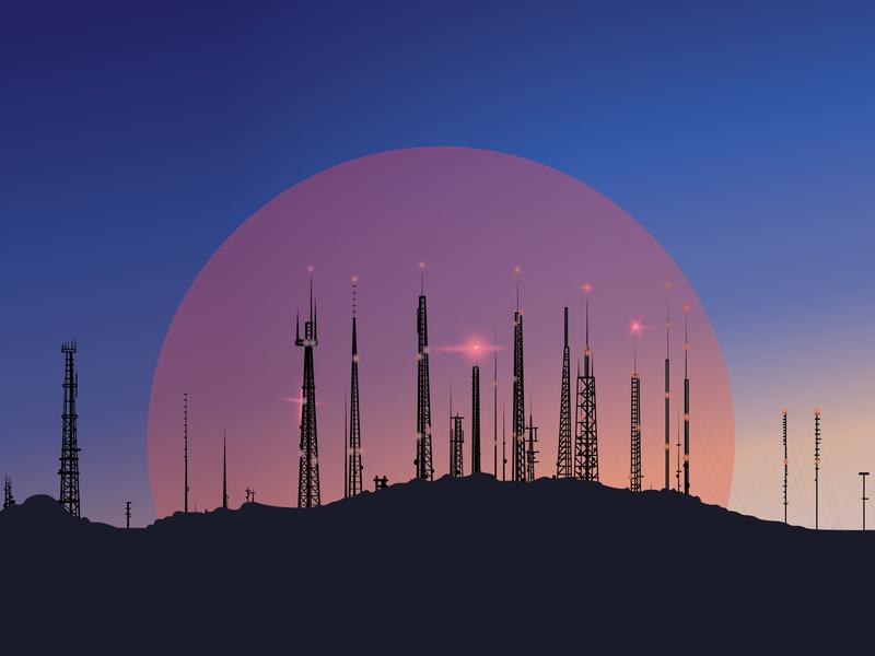 South Mountain Towers mountain sun art skyline illustrator illustration design architecture nightfall fyresite arizona