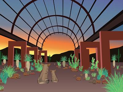 Desert Botanical Coyote Sunset plants endangered cactus cacti sunset desert coyote agave mountain drawing building phoenix illustrator illustration fyresite design art arizona architecture