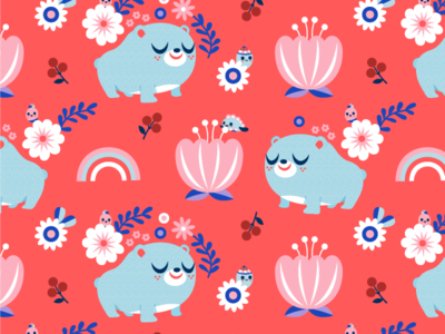 Bear and Flowers Surface Pattern Design