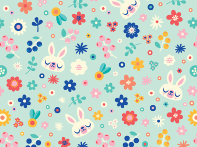 Bunny Ditsy Floral Surface Pattern Design
