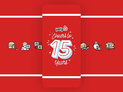 15 Years illustration icons design icon design icons