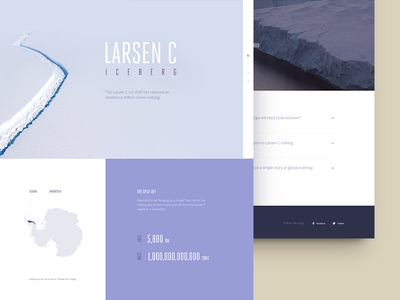 Larsen C Iceberg - Landing page purple antarctica minimal website nature ice clean ux ui web landing