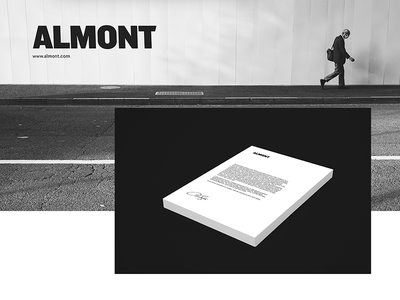 Almont Brand Identity clean mockup black simple logotype logo identity branding