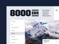8000ers simple mountain minimal photography landing typography web layout ux ui clean