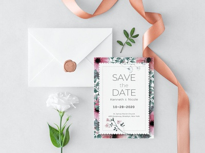 Free Flower Save the Date Wedding Invitation Template