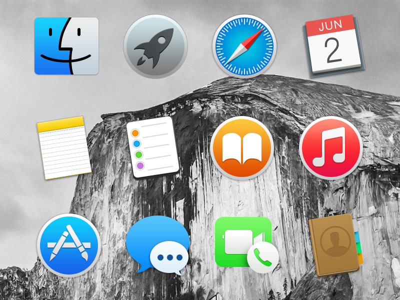 Yosemite Icons yosemite osx apple icons free pack freebie set psd dock free pack