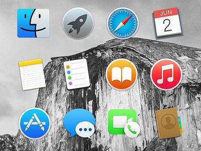 Yosemite Icons yosemite osx apple icons free pack freebie set psd dock free pack